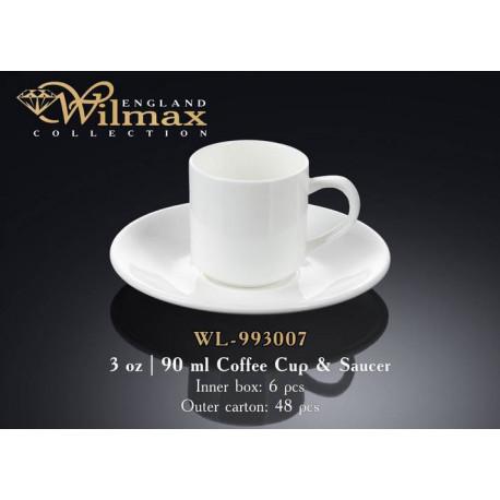 Чашка кофейная и блюдце 90мл  Wilmax WL-993007