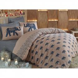 Постельное белье евро Eponj Home - Fil голубой ранфорс