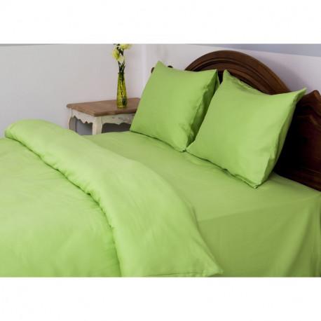 Постельное белье евро Lotus Отель - Сатин Классик зеленый (Турция)