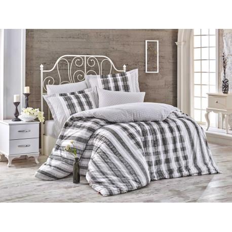 Комплект постельного белья полуторный Hobby Poplin - Debora серый