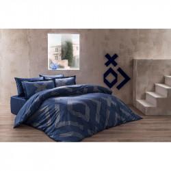 Постельное белье евро Tac сатин Delux - Bellamy lacivert синий