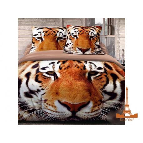 Постельное белье евро 3D Love you Тигр stp 785