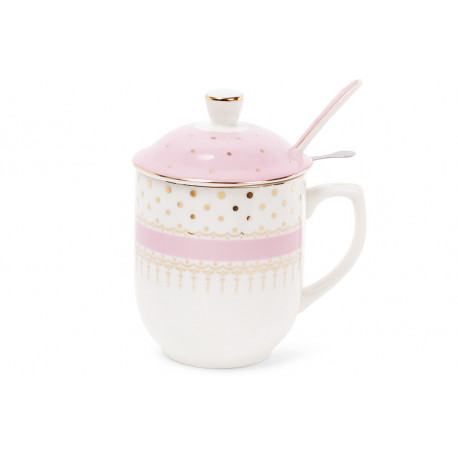 Чашка заварочная 320мл розовая с золотом Bona Di