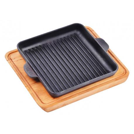 Сковорода-гриль чугунная с подставкой 180 x 180 х 25 мм Brizoll HoReCa Н181825Г-Д