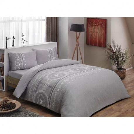 Постельное белье евро Tac Flanel - Sonya gri v01 серый