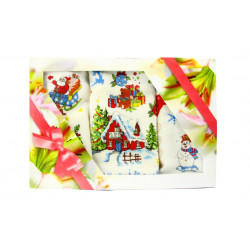 Набор полотенец махровых 3шт 40х60 IzziHome - Новый год №2