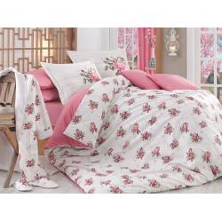 Постельное белье евро Hobby Poplin Paris Spring розовый