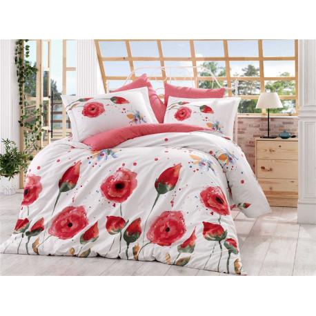 Постельное белье семейное Hobby Poplin Veronika красный