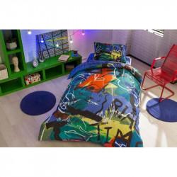 Постельное белье подростковое Tac Ranforce Teen Graffiti - Face mor v01 фиолетовый