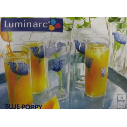 Набор стаканов высоких 270мл 6шт Luminarc Blue Poppy G2023