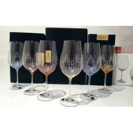 Набор бокалов для вина 550 мл Bohemia Viola Rainbow 40729 550S K0586