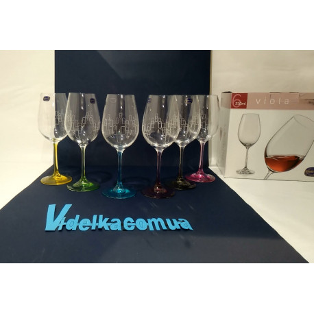 Набор бокалов для вина 350 мл Bohemia Viola Rainbow 40729 350S K0568