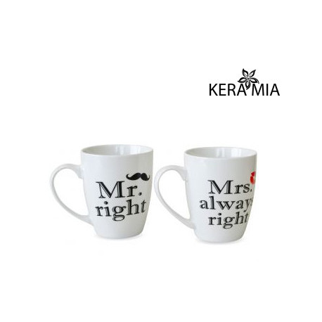 Набор кружек 360 мл Keramia Mr right и Mrs always right 21-272-053