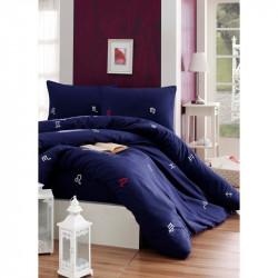 Постельное белье евро Eponj Home ранфорс - Matematik Laci синий